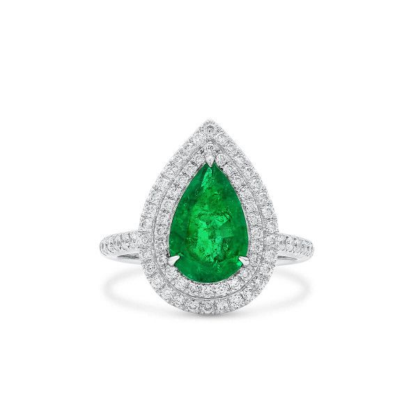 Natural Green Emerald Ring, 1.91 Ct. (2.45 Ct. TW)