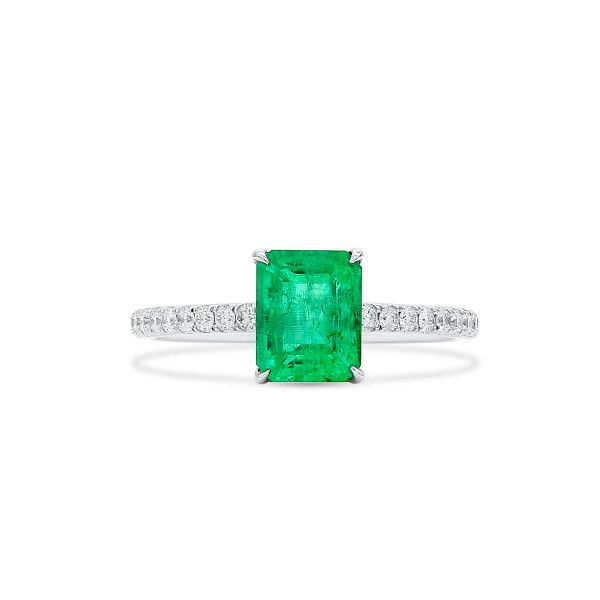 Natural Green Emerald Ring, 1.43 Ct. (1.62 Ct. TW)