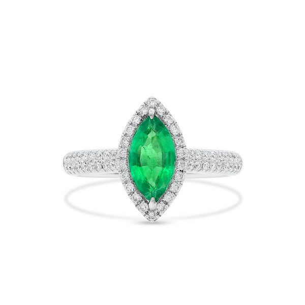 Natural Green Emerald Ring, 0.81 Ct. (1.12 Ct. TW)
