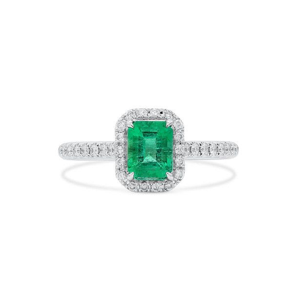 Natural Green Emerald Ring, 0.73 Ct. (0.99 Ct. TW)