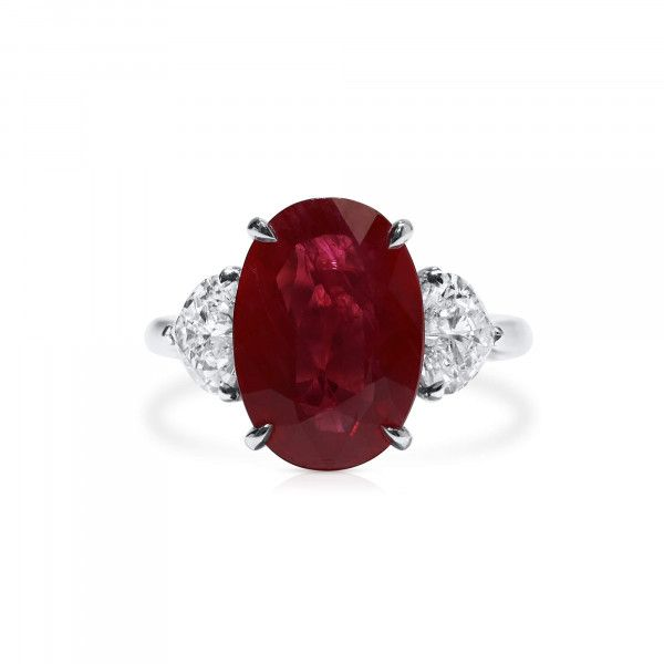 Natural Red Burma Ruby Ring, 7.01 Ct. (8.42 Ct. TW), Unheated