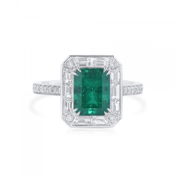 Natural Vivid Green Colombia Emerald Ring, 1.07 Ct. (1.92 Ct. TW), GRS Certified, GRS2021-038579