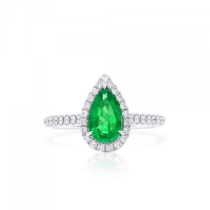 Natural Vivid Green Emerald Ring, 0.83 Ct. (1.11 Ct. TW)