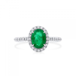 Natural Vivid Green Emerald Ring, 1.02 Ct. (1.30 Ct. TW)