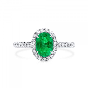 Natural Vivid Green Emerald Ring, 1.00 Ct. (1.27 Ct. TW)