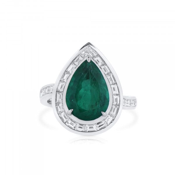 Natural Vivid Green Colombia Emerald Ring, 3.40 Ct. (4.57 Ct. TW), GRS Certified, GRS2021-038576