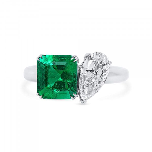 Natural Vivid Green Colombia Emerald Ring, 2.11 Ct. (3.05 Ct. TW), GRS Certified, JCRG05518564