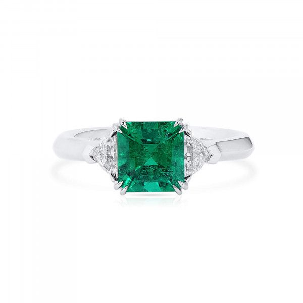 Natural Vivid Green Emerald Ring, 1.51 Ct. (1.85 Ct. TW), GRS Certified, GRS2021-068651