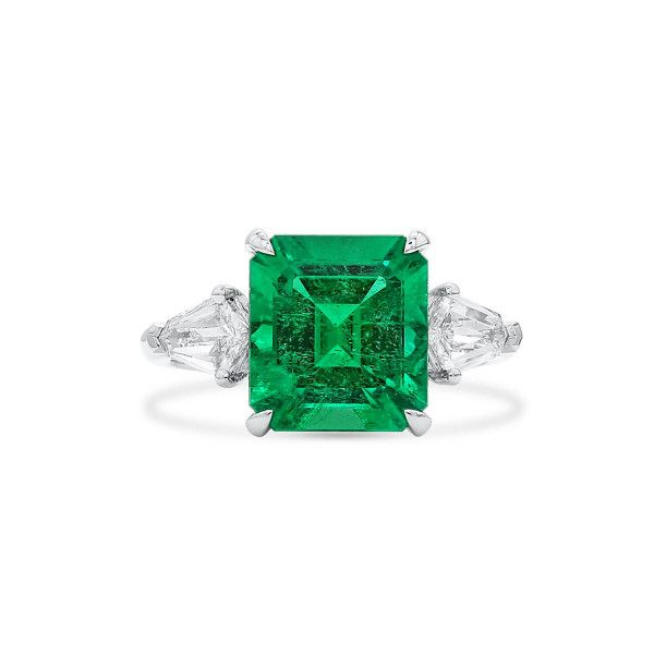 Natural Vivid Green Colombia Emerald Ring, 3.70 Ct. (4.79 Ct. TW), GRS Certified, JCRG08089077