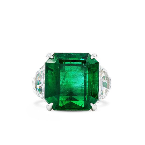 Natural Vivid Green Zambia Emerald Ring, 13.34 Ct. (14.79 Ct. TW), GRS Certified, JCRG08089090