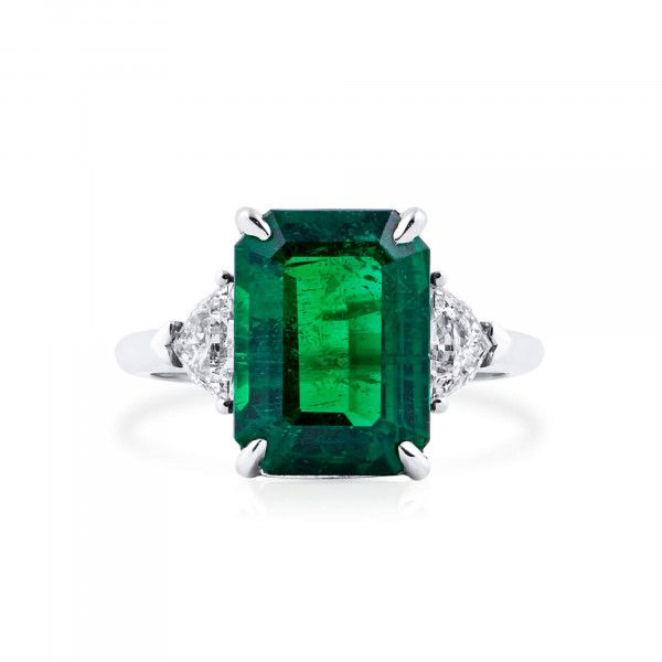 Natural Green Emerald Ring, 4.80 Ct. (5.44 Ct. TW), GRS Certified, GRS2021-068043