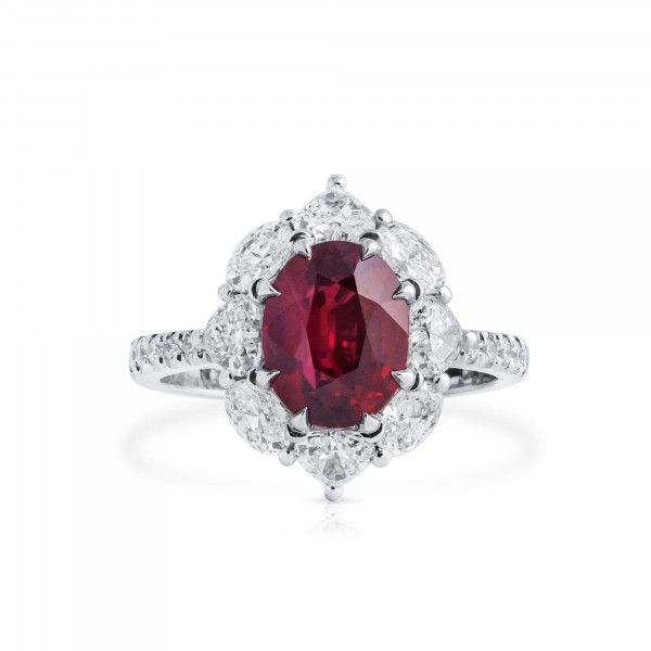 Natural Vivid Red Ruby Ring, 3.04 Ct. (4.86 Ct. TW), GRS Certified, GRS2018-128573, Unheated