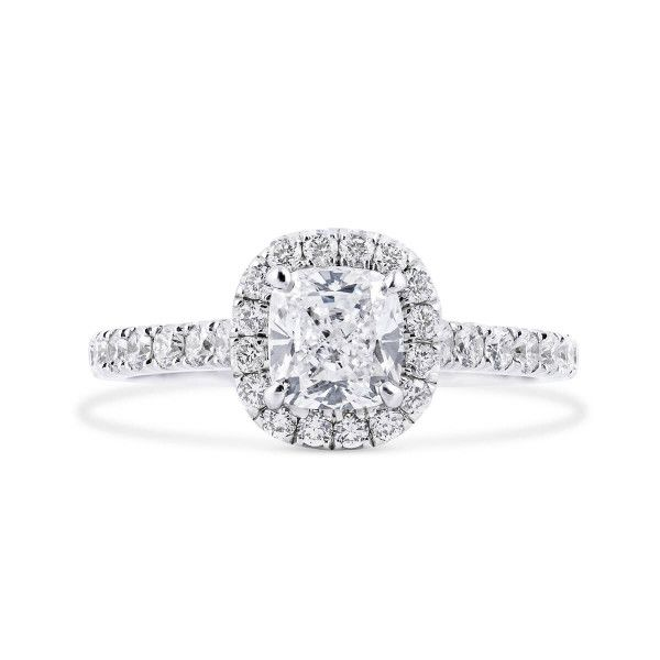 White Diamond Ring, 1.01 Ct. (1.55 Ct. TW), Cushion shape, GIA Certified, 2346287793
