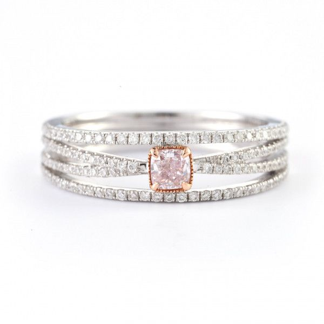 Fancy Pink Diamond Ring, 0.18 Ct. TW, Cushion shape
