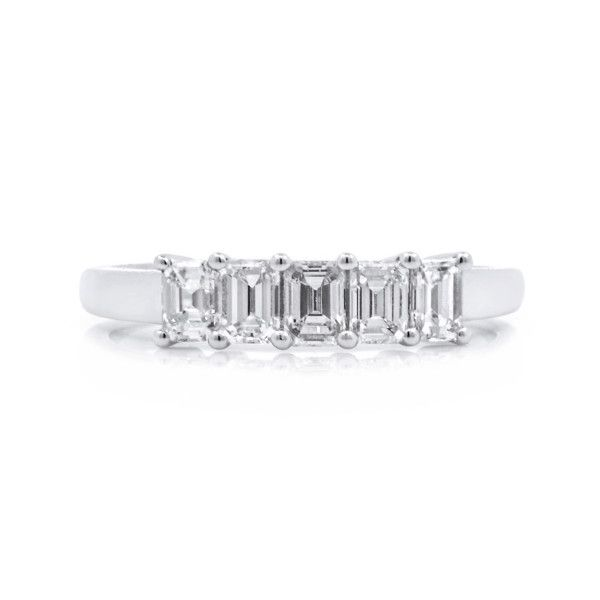 Classic Emerald Cut Five Stone Diamond,0.73 ct, G-H, VS