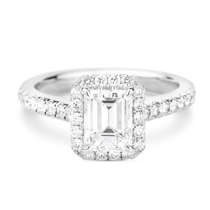 White Diamond Ring, 0.91 Ct. (1.26 Ct. TW), Emerald shape, GIA Certified, 2165317042
