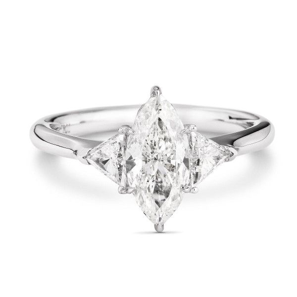 White Diamond Ring, 1.01 Ct. (1.36 Ct. TW), Marquise shape, GIA Certified, 2194902167