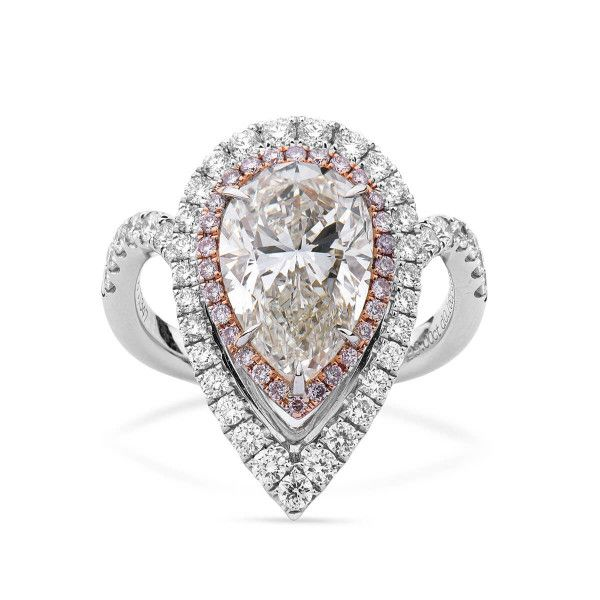 White Diamond Ring, 3.00 Ct. (3.85 Ct. TW), Pear shape, HRD Certified, 170003027667