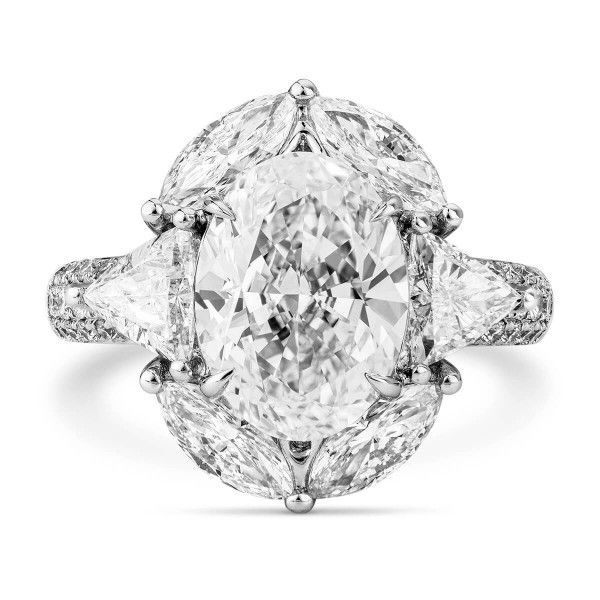 White Diamond Ring, 1.00 Ct. (2.01 Ct. TW), Oval shape, GIA Certified, 7206700352