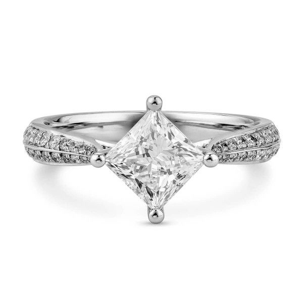 White Diamond Ring, 1.21 Ct. (1.41 Ct. TW), Princess shape, GIA Certified, 6225059940