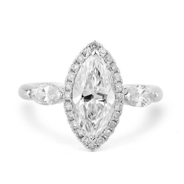 White Diamond Ring, 1.66 Ct. (2.30 Ct. TW), Marquise shape, EGL HK Certified, 1501255019