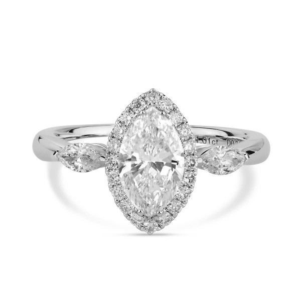 White Diamond Ring, 1.01 Ct. (1.43 Ct. TW), Marquise shape, GIA Certified, 2266107449