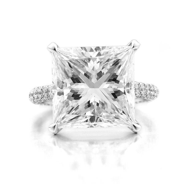 White Diamond Ring, 10.05 Ct. (11.09 Ct. TW), Princess shape, GIA Certified, 2183602408