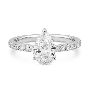 White Diamond Ring, 1.02 Ct. (1.26 Ct. TW), Pear shape, GIA Certified, 2236219160