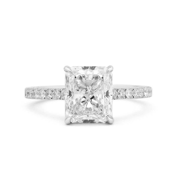 White Diamond Ring, 3.01 Ct. (3.34 Ct. TW), Radiant shape, GIA Certified, 2185999399