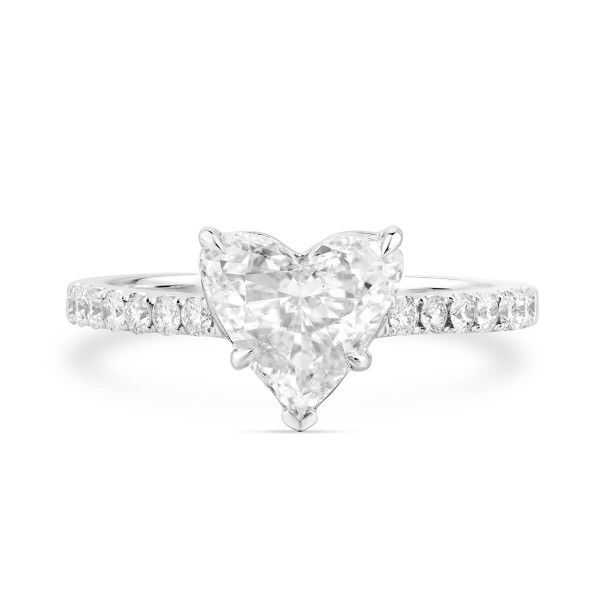 White Diamond Ring, 1.24 Ct. (1.57 Ct. TW), Heart shape, GIA Certified, 2274407974