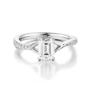 White Diamond Ring, 1.05 Ct. (1.23 Ct. TW), Emerald shape, GIA Certified, 1288259728
