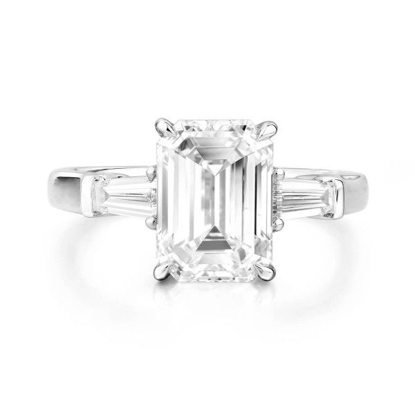White Diamond Ring, 3.02 Ct. (3.37 Ct. TW), Emerald shape, GIA Certified, 2296070232