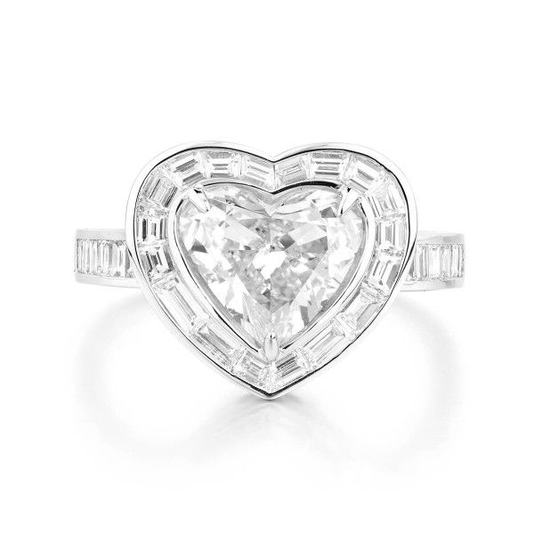 White Diamond Ring, 2.01 Ct. (3.12 Ct. TW), Heart shape, GIA Certified, 3165404542
