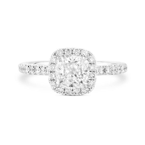 White Diamond Ring, 1.14 Ct. (1.49 Ct. TW), Cushion shape, GIA Certified, 7242352584