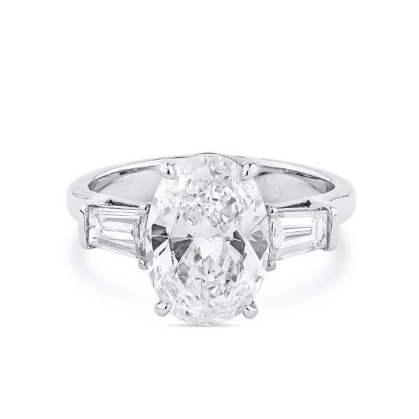 White Diamond Ring, 3.02 Ct. (3.68 Ct. TW), Oval shape, GIA Certified, 2308996311