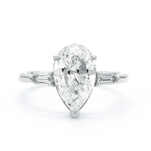 White Diamond Ring, 3.01 Ct. (3.28 Ct. TW), Pear shape, GIA Certified, 6137240673