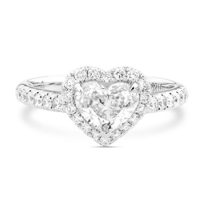 White Diamond Ring, 1.00 Ct. (1.38 Ct. TW), Heart shape, GIA Certified, 1229502004