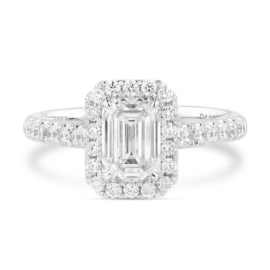 White Diamond Ring, 1.21 Ct. (1.60 Ct. TW), Emerald shape, GIA Certified, 6272913057