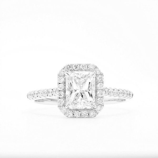 White Diamond Ring, 1.00 Ct. (1.28 Ct. TW), Radiant shape, GIA Certified, 7288045927