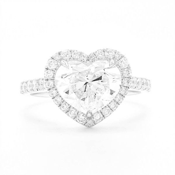 White Diamond Ring, 3.63 Ct. TW, Heart shape, GIA Certified, 2141362089