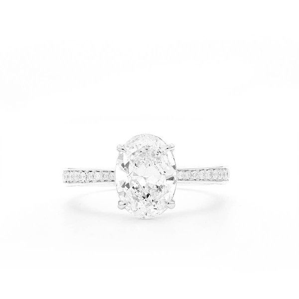White Diamond Ring, 2.01 Ct. (2.30 Ct. TW), Oval shape, GIA Certified, 6315386127