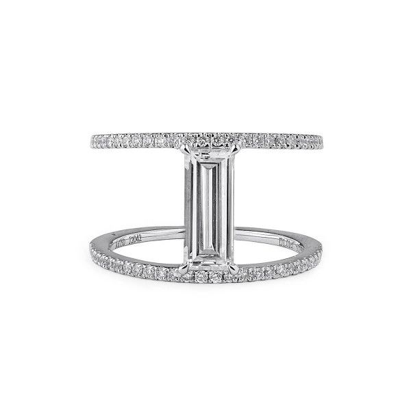 White Diamond Ring, 1.01 Ct. (1.27 Ct. TW), Baguette shape, GIA Certified, 2317374182