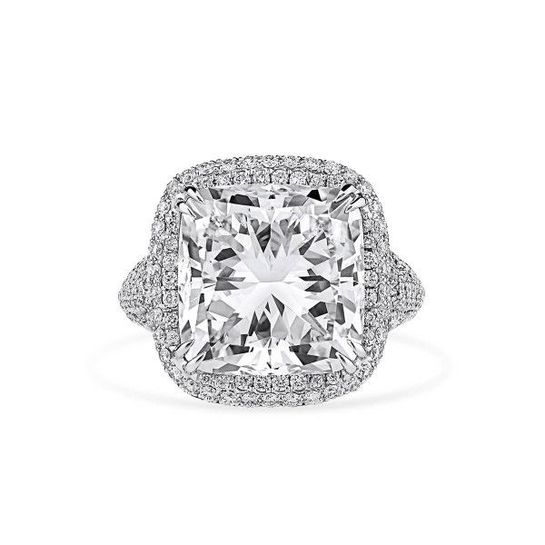 White Diamond Ring, 10.04 Ct. (11.78 Ct. TW), Cushion shape, GIA Certified, 2201320632