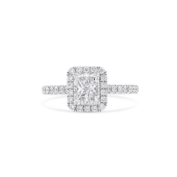 White Diamond Ring, 1.01 Ct. (1.46 Ct. TW), Radiant shape, GIA Certified, 2334448438