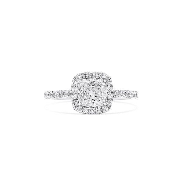 White Diamond Ring, 1.02 Ct. (1.47 Ct. TW), Cushion shape, GIA Certified, 2336885834