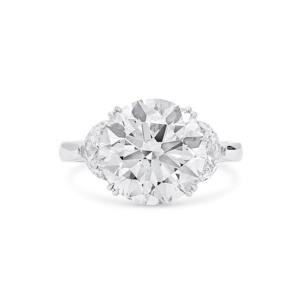 White Diamond Ring, 5.55 Ct. (6.52 Ct. TW), Round shape, GIA Certified, 5202365346