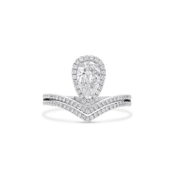White Diamond Ring, 0.72 Ct. (1.11 Ct. TW), Pear shape, GIA Certified, 2357551118