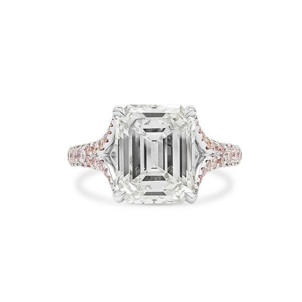 White Diamond Ring, 4.28 Ct. (4.99 Ct. TW), Emerald shape, GIA Certified, 2181113915