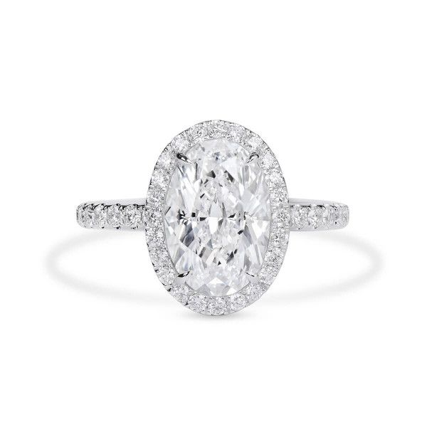 White Diamond Ring, 3.02 Ct. (3.82 Ct. TW), Oval shape, GIA Certified, 6365673916
