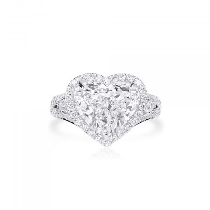 White Diamond Ring, 5.01 Ct. (6.12 Ct. TW), Heart shape, GIA Certified, 6311339205